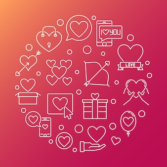 Saint valentine's day round outline illustration