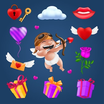 Saint valentine's day set - little angel or cupid, flying heart with wings, red rose flower, pink balloon, gift box, letter, padlock, key, smiling lips, cloud.