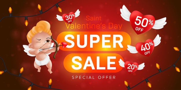 Saint valentine's day special offer horizontal flyer template or advertising super sale banner