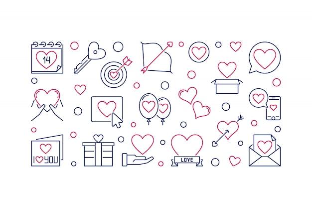Saint valentine's day vector outline illustration or banner