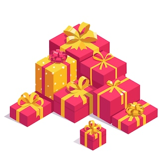 Saint valentines day red gift boxes