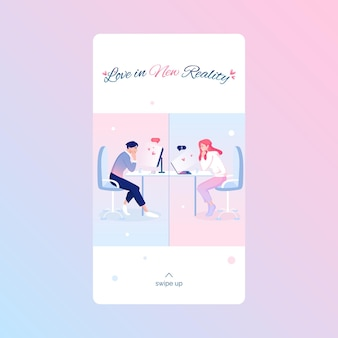Шаблон истории в социальных сетях на день святого валентина с милыми влюбленными, празднующими праздник в интернете. концепция отношений на расстоянии.