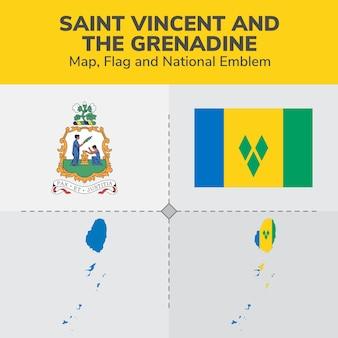 Saint vincent and the grenadine map, flag and national emblem
