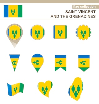 Saint vincent and the grenadines flag collection, 12 versions