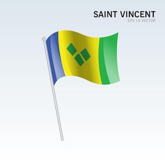 회색에 고립 된 깃발을 흔들며 성자 vincent