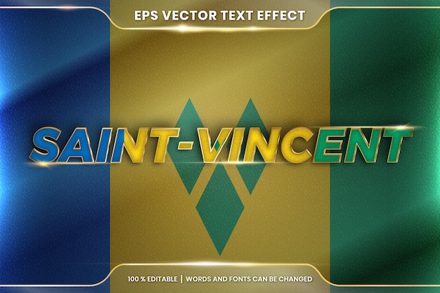 Saint vincent with its national country waving flag, editable text effect style with gradient gold color concept