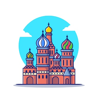 Saints basil cathedral cartoon   icon illustration. famous building traveling icon concept isolated  . flat cartoon style