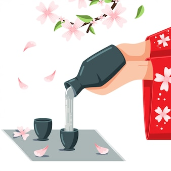 Sake cartoon illustration on the blossom cherry.