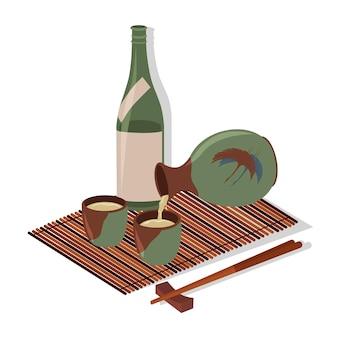 Стеклянная бутылка саке палочки для еды бамбуковая циновка векторные цветные плоские иллюстрации шаржа, изолированные на белом