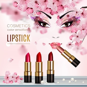 Sakura abstract flyer with advertising a new collection of lipstick and cosmetics color sensation headline