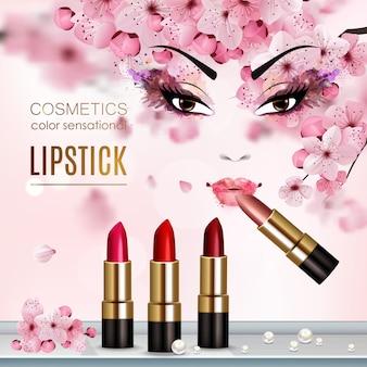 Volantino astratto sakura con la pubblicità di una nuova collezione di titoli di rossetto e cosmetici