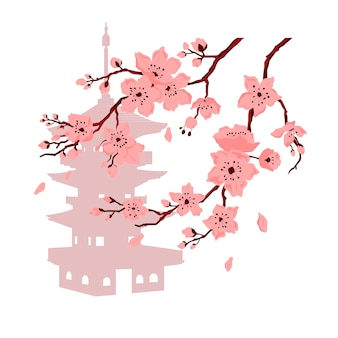 Sakura blossom. cherry branch with flowers and bud. petals falling. vector color flat cartoon illustration isolated on white background and pagoda.
