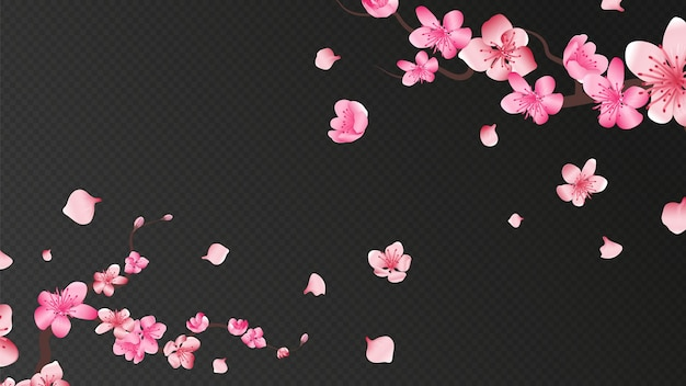 Sakura blossom. falling petals, isolated flower elements. flying realistic japanese apricot or pink cherry fall down  romantic wall. branch blossom sakura, flying petals illustration