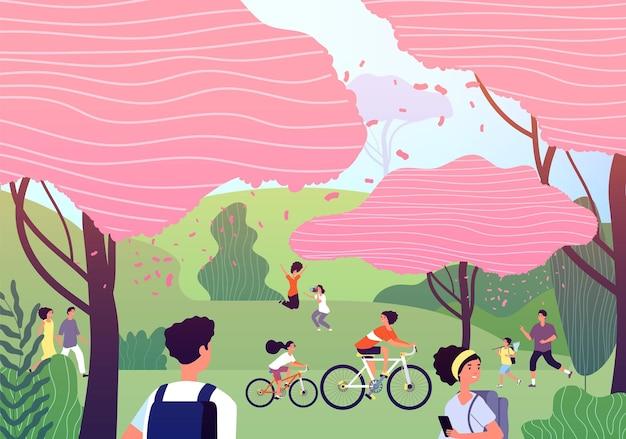 さくらまつり。お祝いの庭、日本の公園と群衆。ピンクチェリー野外パーティー。愛らしい季節の自然のイラスト。日本の桜まつり、桜の春