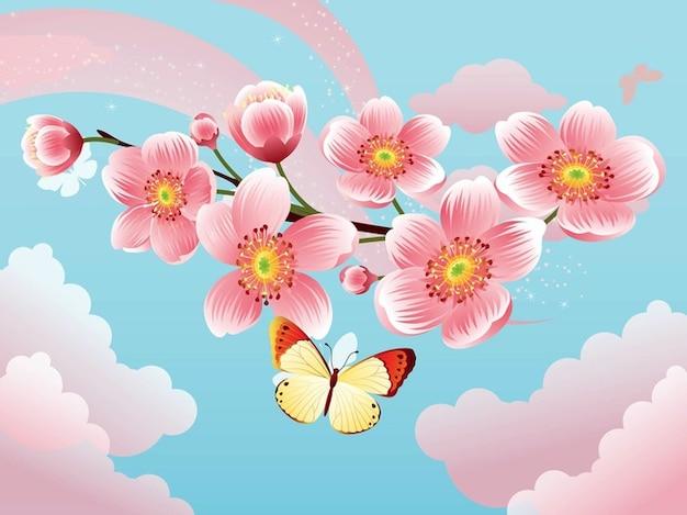 Sakura blossom floral flowers vector