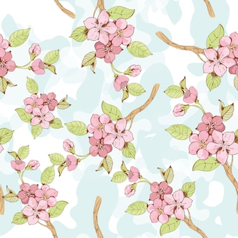 Sakura branch seamless patten