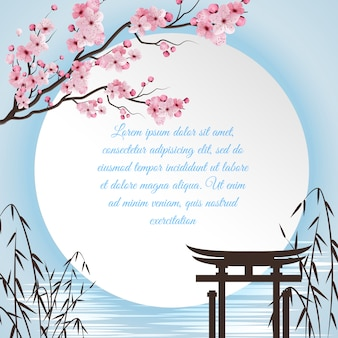Sakura cartoon concept with japanese motifs and white circle with place for poem