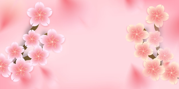 Sakura,cherry blossom, die-cut floral falling down background,