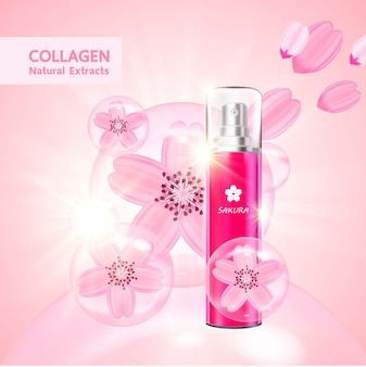 Sakura collagen and serum for beauty product .