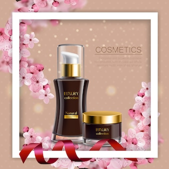 Sakura colored composition white frame and realistic black jars with cosmetic cream