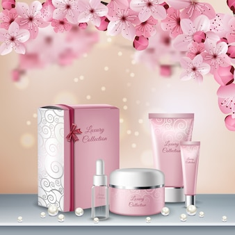 Sakura colored poster or advertising flyer with pink bottles of cosmetics for beauty procedures
