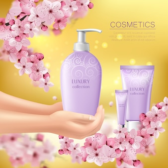 Sakura colored with cosmetic product in the hands of girl advertising