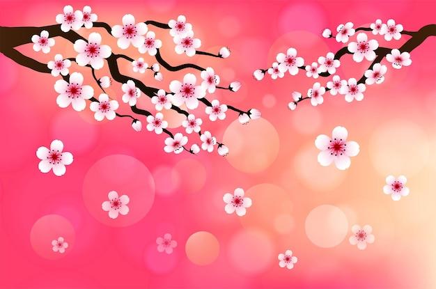 ピンクのバナーの背景に桜の落下花びらベクトル
