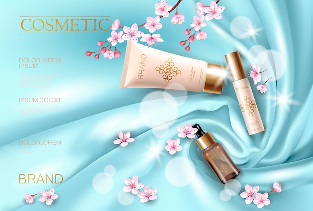 Sakura flower cosmetic promotional poster template. pink petal blossom