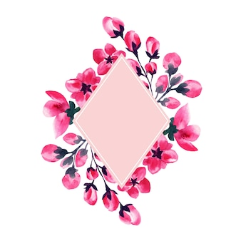 Sakura flowers, cherry blossom watercolor frame