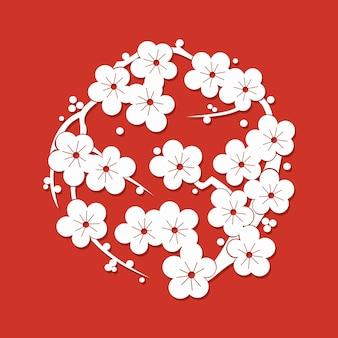 Sakura flowers flat simlpe ornament vector illustration