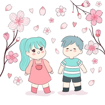 Sakura flowers and kids illustration