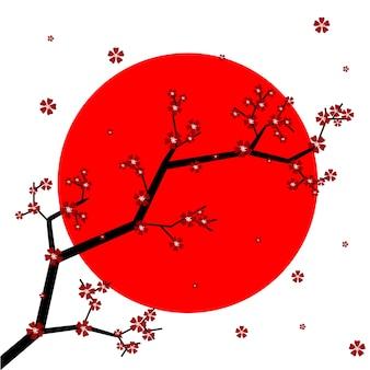 背景に日本の国旗と桜の花