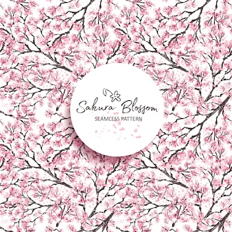 Sakura japan cherry branch with blooming flowers. hand drawn style. seamless