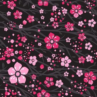Sakura japan cherry branch with blooming flowers. Premium Vector