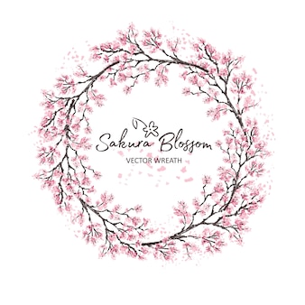 Sakura japan cherry branch of wreatht with blooming flowers watercolor style   illustration.
