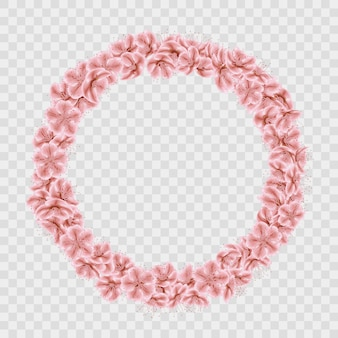 Sakura petals circle frame  on transparent background.