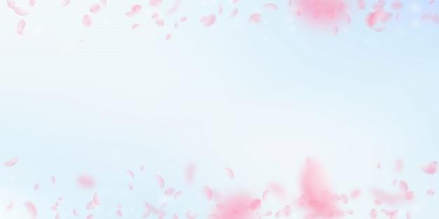Sakura petals falling down. romantic pink flowers gradient.