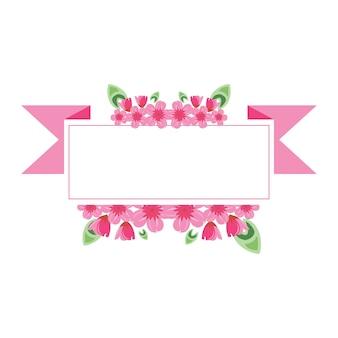 Sakura pink flower wreath ribbon frame flat illustration