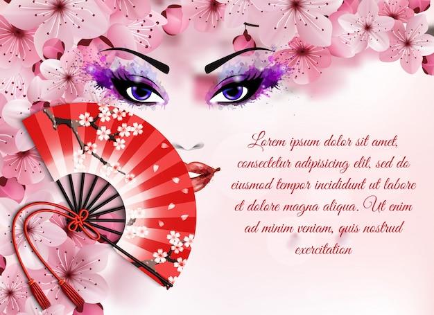 Concetto realistico degli elementi di sakura con pittura astratta con un fronte e un fan della donna