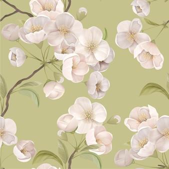 Сакура бесшовные модели. белые цветущие вишни с листьями и ветвями на зеленом фоне. элегантный бумажный или текстильный принт, декоративный орнамент обоев, ботаническая векторная иллюстрация