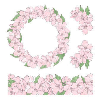 Sakura set floral decorative collection and wreath