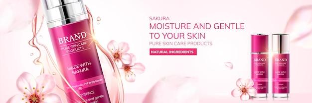 3d 그림, 밝은 분홍색 배경에서 공중에 벚꽃이 날아다니는 사쿠라 스킨 케어 광고