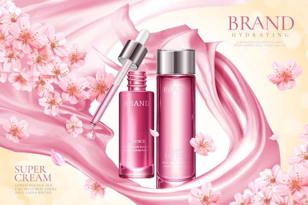 Sakura skincare product ads with pink smooth satin and floral elements