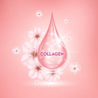 Отбеливающая сыворотка для ухода за кожей сакуры капли витамина и коллагена сакуры