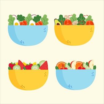 Салат и ваза с фруктами