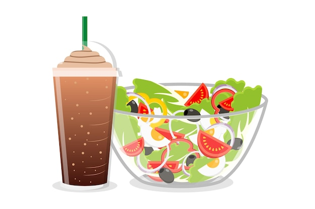 Salad bowl and frappe coffee in disposable plastic cup with straw