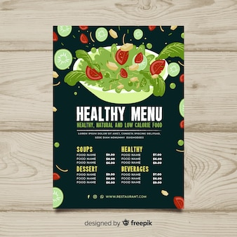 Salad bowl healthy menu template