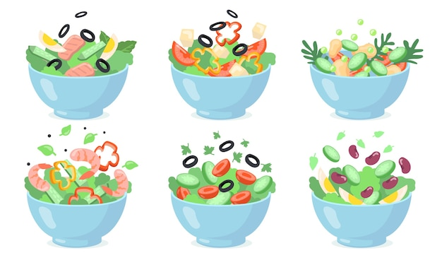 Salad bowls set. cut green vegetables with eggs, olives, cheese, beans, shrimps. vector illustrations for fresh food, healthy eating, appetizer, lunch s