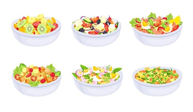 サラダ料理。新鮮で健康的な野菜のスライスを入れたボウル。ギリシャ、フルーツサラダ、カプレーゼ。ベジタリアンダイエットミール。天然成分ベクトルセット。ボウルサラダオーガニック、フルーツフードイラスト付き料理