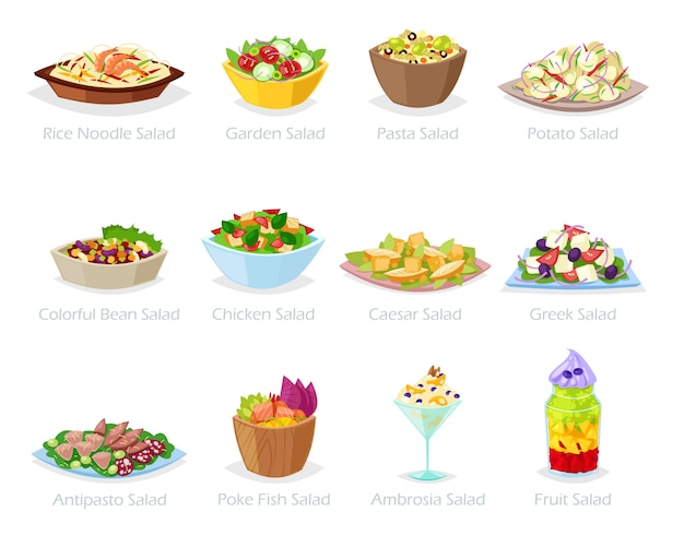 Salad  healthy food with fresh vegetables tomato or potato in salad-bowl or salad-dish for dinner or lunch illustration set of organic meal diet  on white background